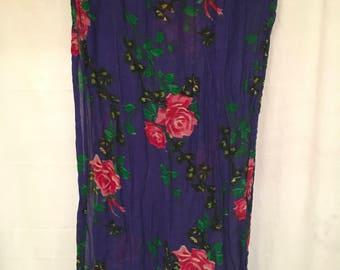 Purple, Floral, Long Wrap, Scarf, BoHo