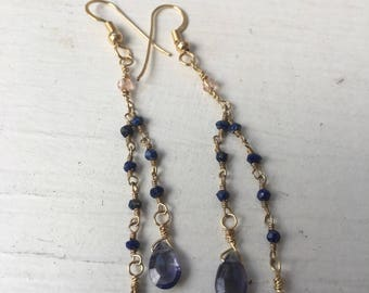 Gold and iolite earrings