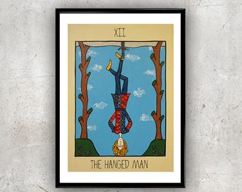 The Hanged Man Tarot  Painting Art Print, Room Decor print, A4 poster, room art, tarot card, oracle, major arcana, astrology, divination