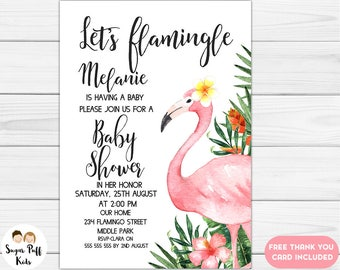 Watercolor Let's Flamingle Baby Shower Invitation, Watercolor Baby Shower Invitation, Flamingo Baby Shower Invitation, Baby Shower Invite