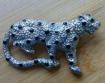 Vintage brooch Leopard silver 6cm