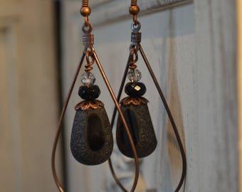 Copper Earrings, Copper Drop Earrings, Tear Drop Earrings, Black Earrings, Black Drop Copper Earrings, Black Drop Earrings, Date Night Out