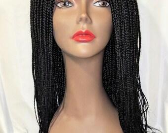 Medium Box Braided Wig (All Back, Black)