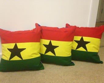 Handmade Applique Ghana Flag Cushion