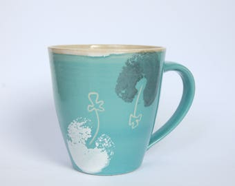 Cup/water flowers/turquoise/0.5 litre / tea