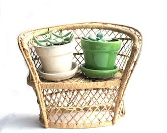 Mini Wicker Loveseat, chair, plant stand, peacock chair, boho decor
