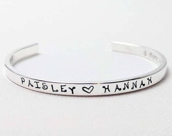 Mother's Bracelet Sterling Silver Cuff, Personalized Sterling Silver Cuff, Stacking Bracelet, Gift for Mom, Mother's Day Gift