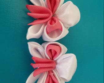 Kanzashi style orchid hair clips