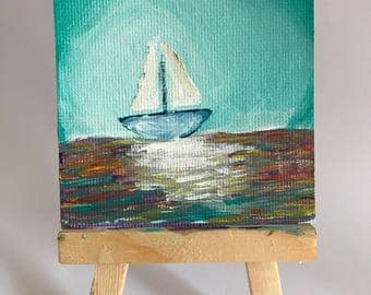 Mini Canvas Painting | Sail away with me