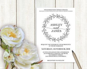 Wedding Invitation Template Wreath, Wedding Invitation Editable, Wedding Invitation Printable, Wedding Template, PDF Instant Download LW110