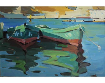 """Original New Art Impressionism Plein Air Sunny Barcas Summer Seascape Bay Oil on canvas Painting """"In the bay"""" 15,5X23,5 IN by Anna Gusarova"""