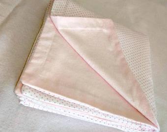 Pink Polkadot Blanket swaddle/receiving blanket