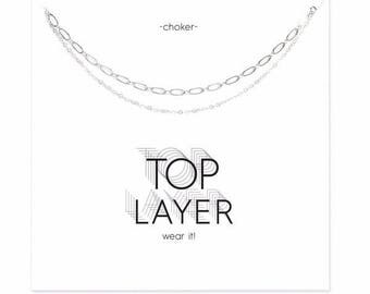 Handmade Silver Plated Double Layer Choker Necklace
