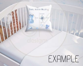 NAUTICAL BABY Stats Pillow Template-Baby Stats-Pillow Template-New Baby-Watercolor-Nautical-Baby-Template-Birth Announcement-Nursery Decor