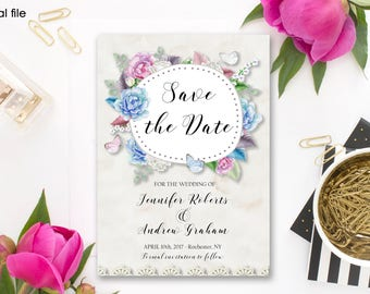 Save the Date Printable Floral Digital Wedding Pink Blue White Watercolor Roses Invitation Beige Lace Invitation Wedding Invite WS-009