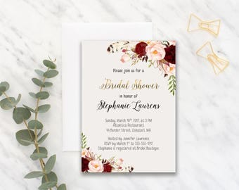 Bridal Shower Invitation Printable Floral Digital Wedding Marsala Burgundy Watercolor Gold letters Bohemian Bridal Shower Invite WS-013