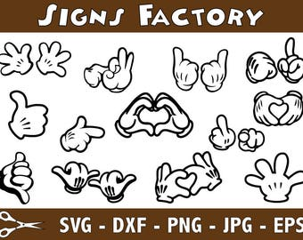 Mickey Mouse hands SVG files, Mickey svg, Mickey mouse silhouettes, mickey mouse clipart, disney svg files for silhouette, cricut download
