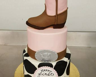 Cowgirl Cowboy Boot Cake Topper Fondant