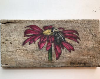 Falk Art, Coneflower Painting on Reclaimed Barn Wood 7 3/4 x 16 by Zata Palange