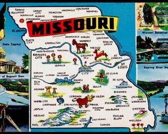 Missouri Illustrated MAP Mule Scenes 1957 Postcard  MO PC