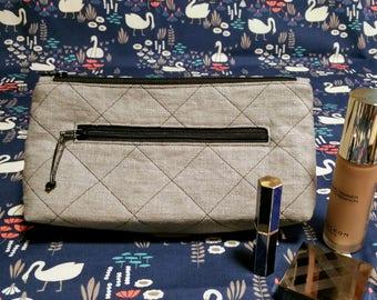 Linen double zip flat-base purse with inside pocket
