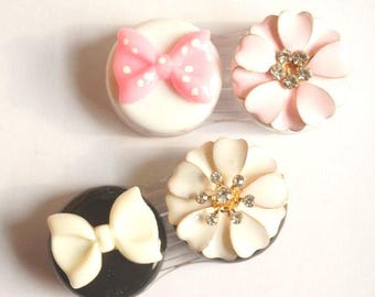 Cute Contact Lens Case Box Set Holder Pink and White Bow Travel Kit