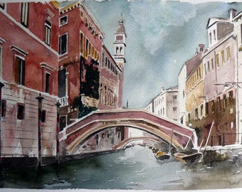 Venice, canals, watercolor, gift art collectors,
