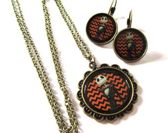 Nightmare Before Christmas Jack Skellington bronze necklace & earrings set