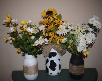 Country floral arrangement. Set of 3 hand painted vases. Flowers included in price.
