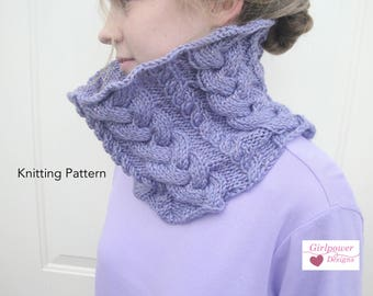 Braided Cable Cowl Scarf Knitting Pattern, Easy Knit Pattern, Aran Worsted Yarn, Infinity Scarf Pattern, Chunky Cable Scarf