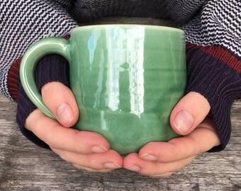 Ceramic mug, coffee mug, tea cup, pottery mug, green mug, handmade, Australian made, stoneware
