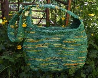 Green and Yellow Crochet Hobo Bag