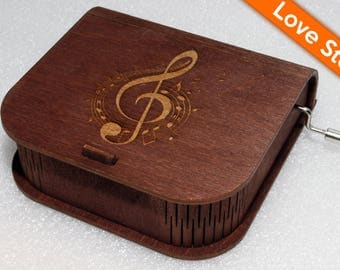 """Engraved Wooden Music Box  """"Love Story"""" #2 - Hand Crank Movement"""