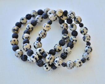 Dalmatian Stone Stretch Bracelet Trio