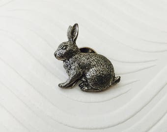 A R Brown Pewter Rabbit Pin, 1980s Pewter Hare /rabbit pin