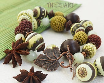 Wood Necklace Earrings Set/ handmade jewelry knitted cotton beads crochet nature brown olive green wooden beads hand painted