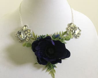 Necklace corsage: silver, deep purple, bling