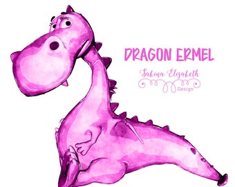 Dragon Ermel 2, pink, Watercolor Clipart, Baby, Child, Fun, Craft