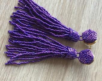 Beaded tassel earrings,matallic purple wedding earrings, prom earrings, statement seed beads earrings, bridesmaid gift for her,