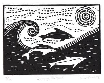 Jumping Dolphins - Linocut Print - Original Limited Edition Signed
