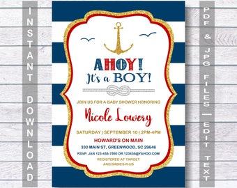 Nautical Baby Shower Invitation, AHOY! ITu0027S A BOY! Anchor Baby Shower  Invitation,