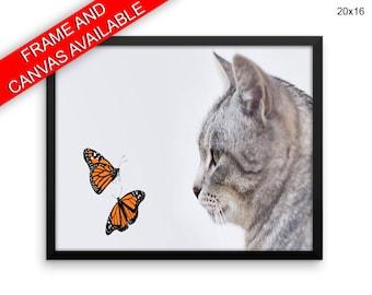 Butterflies Canvas Art Kitten Printed Butterflies Living Room Art Kitten Living Room Print Butterflies Framed Art Kitten animals print