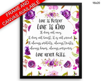 Love Is Patient Love Is Kind Canvas Art Love Is Patient Love Is Kind Printed Love Is Patient Love Is Kind  Framed Art Love Is Patient Love