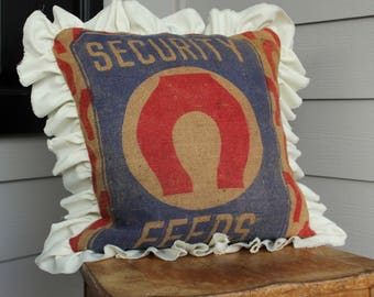 Grainsack Pillow with Frayed Ruffle Trim