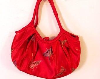 Red Silk Handbag