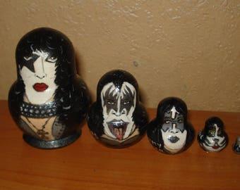 Set of 5pc hand painted wooden russian matryoshka nesting dolls KISS ROCK BAND