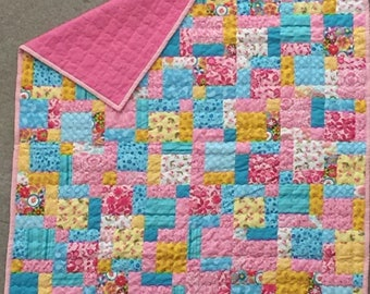 Baby Girl Flannel-Backed Patchwork Quilt PROCEEDS FOR CHARITY