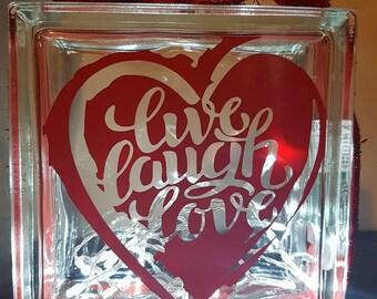 Live, Love, Laugh Glass Block Light