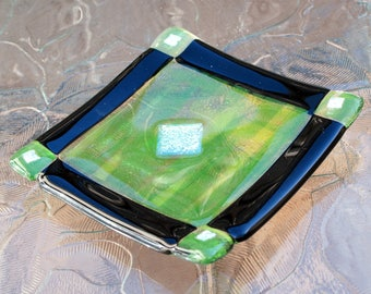 """Fused Glass Green & Black Plate 4.25"""" x 4.25"""""""