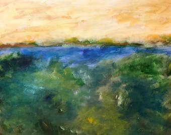 24x30 Original Acrylic Savannah Low Country Marsh on Canvas